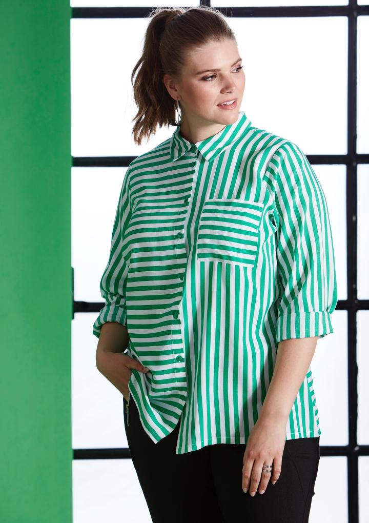 69810f53 STRIPET SKJORTE-453 - Pip Stormote • Nettbutikk for klær i store størrelser